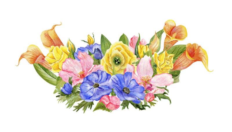 Οριζόντια ανθοδέσμη watercolor απεικόνιση αποθεμάτων