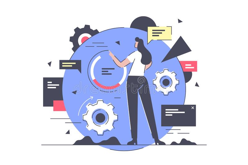 Οριζόντια απομονωμένη επιχειρηματίας υπό εξέλιξη στην εργασία διανυσματική απεικόνιση
