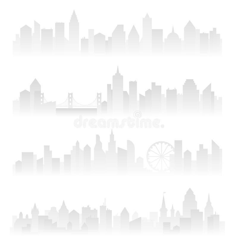 Οριζόντια εμβλήματα επιγραφών της ομιχλώδους αστικής πόλης με τους ουρανοξύστες στην ελαφριά ομίχλη Μαλακή γκρίζα διανυσματική απ διανυσματική απεικόνιση