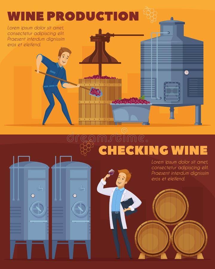 Οριζόντια εμβλήματα κινούμενων σχεδίων παραγωγής κρασιού απεικόνιση αποθεμάτων