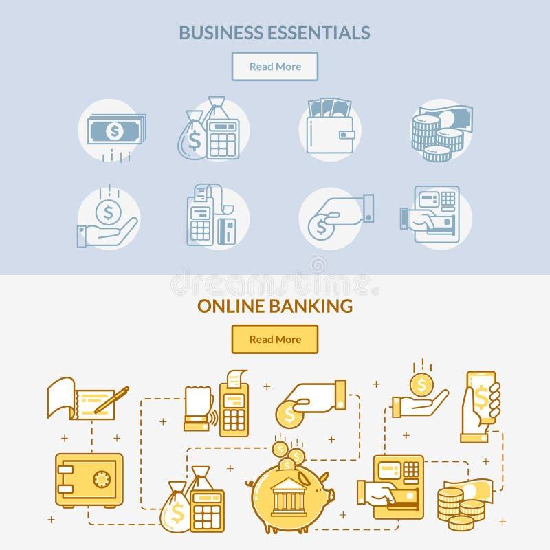 Οριζόντια εμβλήματα τραπεζικών εικονιδίων χρηματοδότησης το δίκτυο του χειρισμού, των συνδέσεων και των ενεργειών μετρητών με τα  ελεύθερη απεικόνιση δικαιώματος