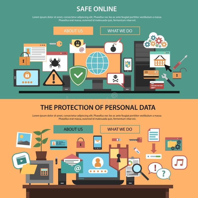 Οριζόντια εμβλήματα ασφάλειας υπολογιστών καθορισμένα επίπεδα ελεύθερη απεικόνιση δικαιώματος