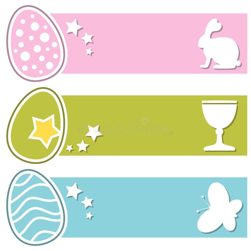 Οριζόντια εμβλήματα αυγών Πάσχας αναδρομικά διανυσματική απεικόνιση