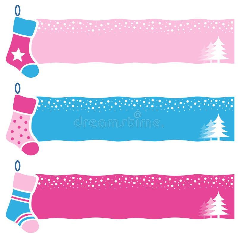 Οριζόντια εμβλήματα καλτσών Χριστουγέννων αναδρομικά απεικόνιση αποθεμάτων