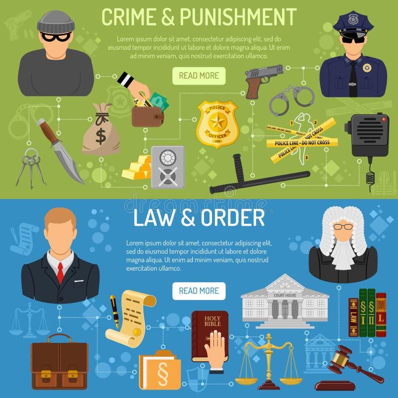 Οριζόντια εμβλήματα νόμου και τάξης διανυσματική απεικόνιση