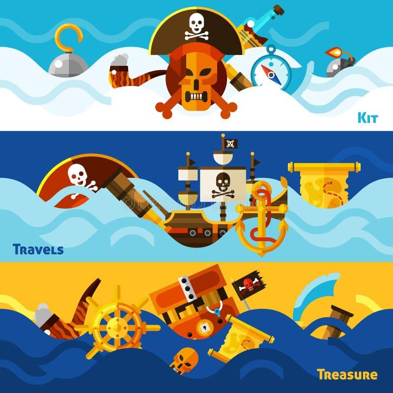 Οριζόντια εμβλήματα πειρατών καθορισμένα διανυσματική απεικόνιση