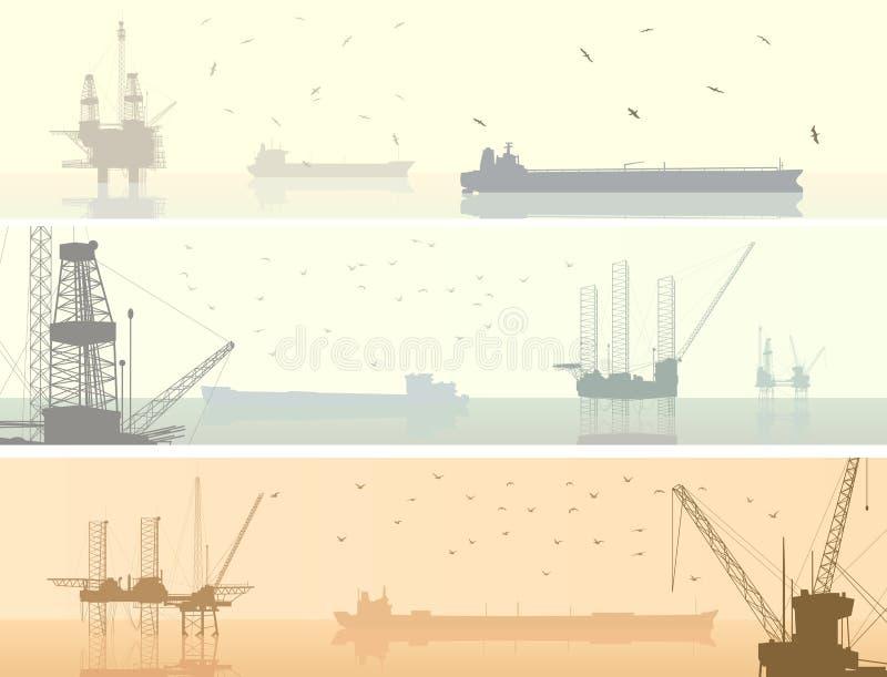 Οριζόντια εμβλήματα των μονάδων για τη βιομηχανία πετρελαίου. διανυσματική απεικόνιση