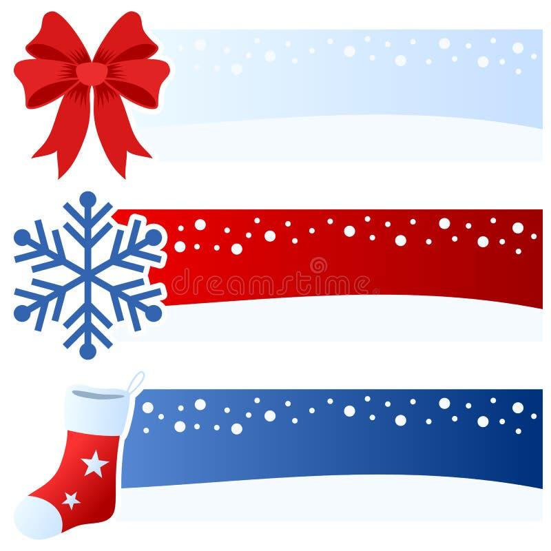 Οριζόντια εμβλήματα χειμώνα ή Χριστουγέννων διανυσματική απεικόνιση