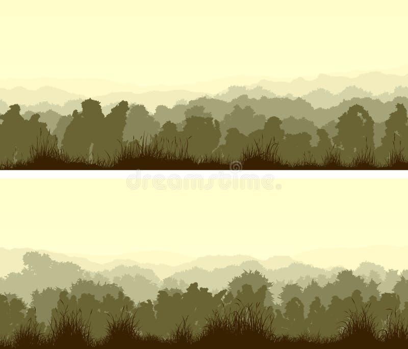 Οριζόντια ευρέα εμβλήματα του αποβαλλόμενου ξύλου διανυσματική απεικόνιση
