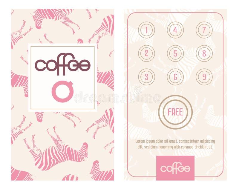 Οριζόντια κάρτα με το πρόγραμμα πίστης για τους πελάτες Σχεδιασμένος για το ε ? καφετερίες, σπίτια caffee, bistro, κ.λπ. διανυσματική απεικόνιση