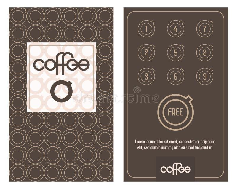 Κάρτα καφέ Οριζόντια κάρτα με το πρόγραμμα πίστης για τους πελάτες των καφετεριών, των σπιτιών caffee κ.λπ. διανυσματική απεικόνιση