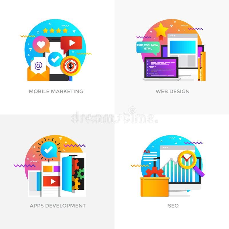 Οριζόντια σχεδιασμένες έννοιες - κινητό μάρκετινγκ, σχέδιο Ιστού, Apps Deve διανυσματική απεικόνιση