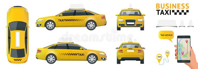 Οριζόντια υψηλός - σύνολο εικονιδίων μεταφορών υπηρεσιών ποιοτικών πόλεων Ταξί αυτοκινήτων Χτίστε τη infographic συλλογή παγκόσμι απεικόνιση αποθεμάτων