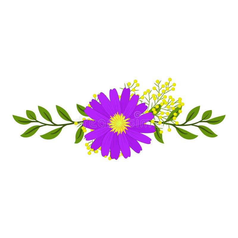 Οριζόντια floral ρύθμιση ενός ιώδους λουλουδιού και των κλάδων ελεύθερη απεικόνιση δικαιώματος