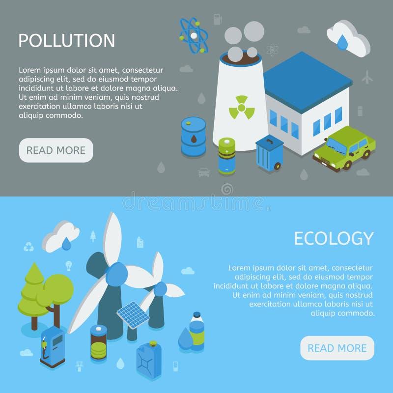 Οριζόντια Isometric εμβλήματα οικολογίας ελεύθερη απεικόνιση δικαιώματος