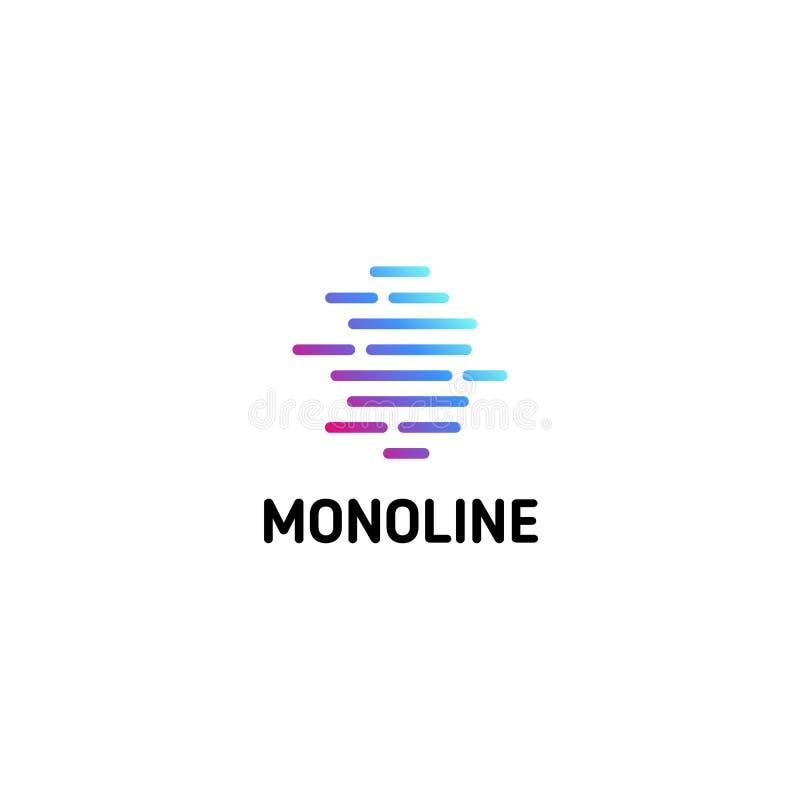 Οριζόντιες διαστιγμένες λουρίδες Απομονωμένο πρότυπο λογότυπων τέχνης γραμμών Αφηρημένο γραμμικό logotype Ζωηρόχρωμο γεωμετρικό ε ελεύθερη απεικόνιση δικαιώματος