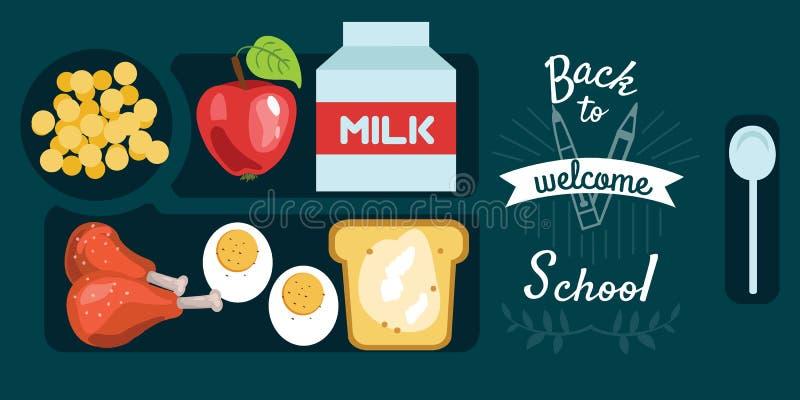 Οριζόντιος δίσκος γευμάτων εμβλημάτων μεσημεριανού γεύματος μαθητών με το βρασμένο τυμπανόξυλα αυγό κοτόπουλου απεικόνιση αποθεμάτων