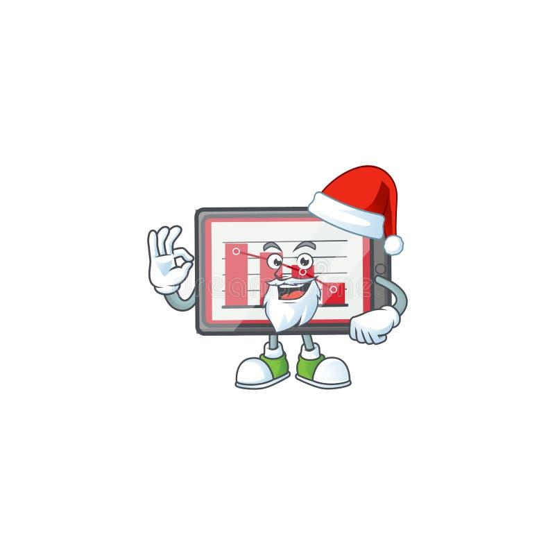Οριζόντιος πίνακας γραφήματος Santa down σε λευκό φόντο ελεύθερη απεικόνιση δικαιώματος