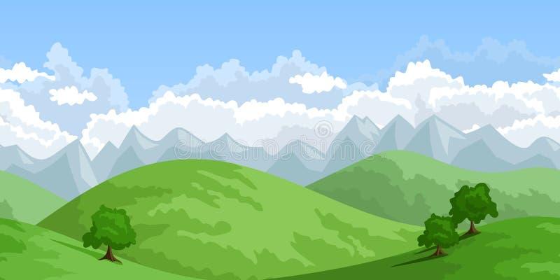 Οριζόντιο άνευ ραφής θερινό τοπίο. απεικόνιση αποθεμάτων