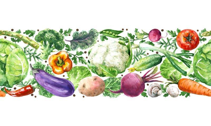 Οριζόντιο άνευ ραφής σχέδιο λαχανικών διανυσματική απεικόνιση