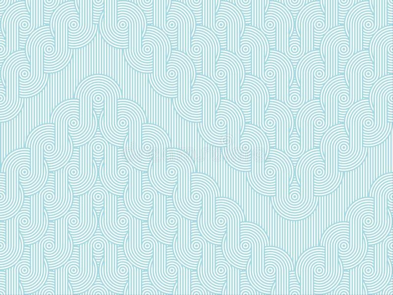 Οριζόντιο άνευ ραφής σχέδιο με τις σειρές τρεκλίσματος των ομόκεντρων κύκλων στο ριγωτό υπόβαθρο ελεύθερη απεικόνιση δικαιώματος