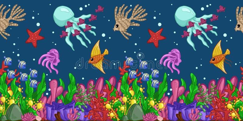 Οριζόντιο άνευ ραφής σχέδιο με τη θαλάσσια ζωή: ψάρια, αστερίας, μέδουσα, φύκι, κοχύλια, φυσαλίδες και κοράλλια το χέρι σύρει την ελεύθερη απεικόνιση δικαιώματος