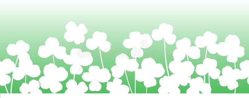 Οριζόντιο άνευ ραφής υπόβαθρο ημέρας του ST Πάτρικ ` s με τα φύλλα τριφυλλιών απεικόνιση αποθεμάτων