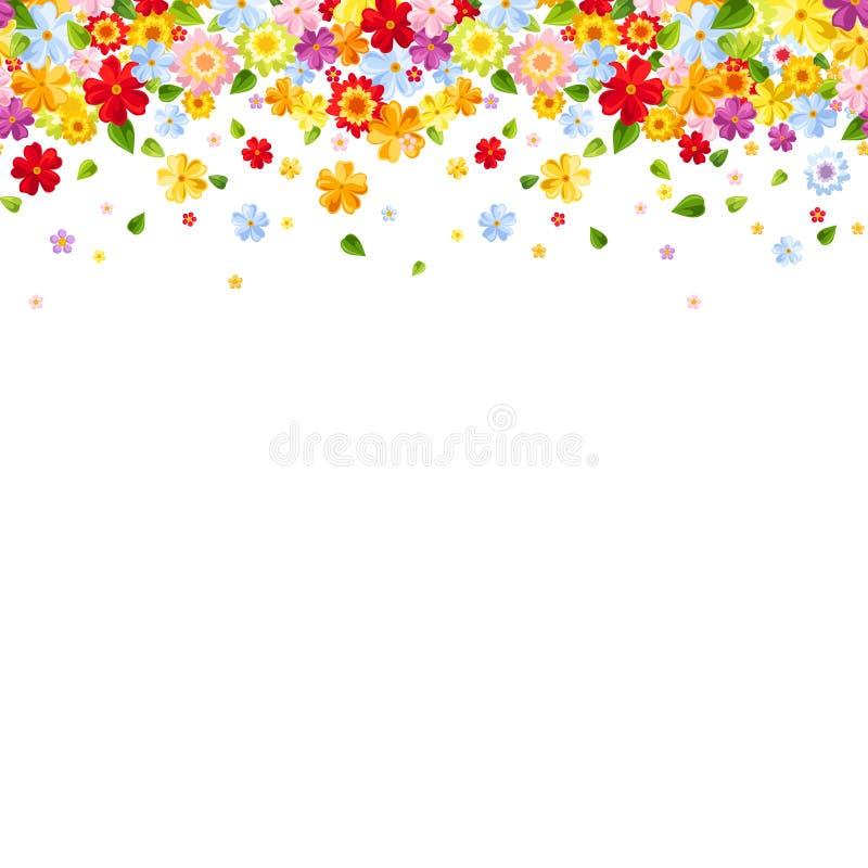 Οριζόντιο άνευ ραφής υπόβαθρο με τα ζωηρόχρωμα λουλούδια επίσης corel σύρετε το διάνυσμα απεικόνισης διανυσματική απεικόνιση