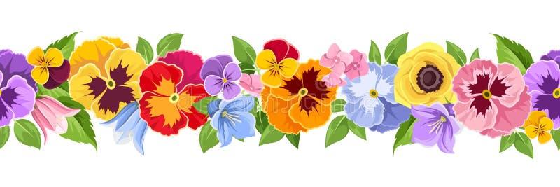Οριζόντιο άνευ ραφής υπόβαθρο με τα ζωηρόχρωμα λουλούδια επίσης corel σύρετε το διάνυσμα απεικόνισης ελεύθερη απεικόνιση δικαιώματος
