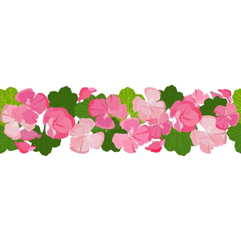 Οριζόντιο άνευ ραφής υπόβαθρο με τα ζωηρόχρωμα λουλούδια και τα φύλλα γερανιών απεικόνιση αποθεμάτων