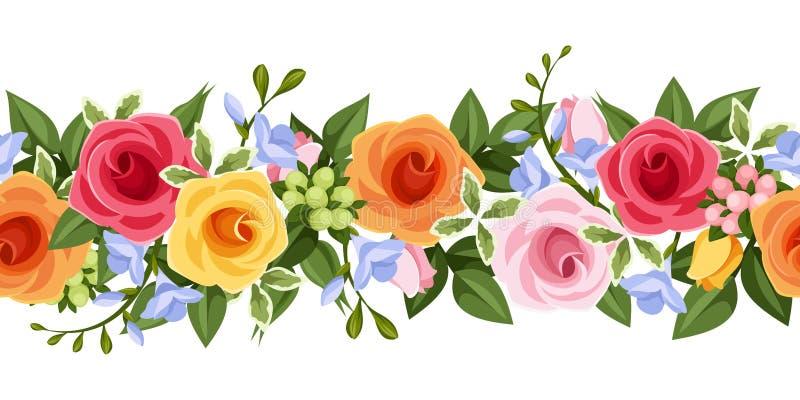 Οριζόντιο άνευ ραφής υπόβαθρο με τα ζωηρόχρωμα τριαντάφυλλα και τα λουλούδια freesia επίσης corel σύρετε το διάνυσμα απεικόνισης ελεύθερη απεικόνιση δικαιώματος