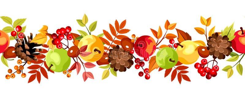 Οριζόντιο άνευ ραφής υπόβαθρο με τα ζωηρόχρωμα φύλλα, τα μήλα και τους κώνους φθινοπώρου επίσης corel σύρετε το διάνυσμα απεικόνι διανυσματική απεικόνιση