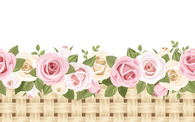 Οριζόντιο άνευ ραφής υπόβαθρο με τα τριαντάφυλλα και τη λυγαριά. ελεύθερη απεικόνιση δικαιώματος