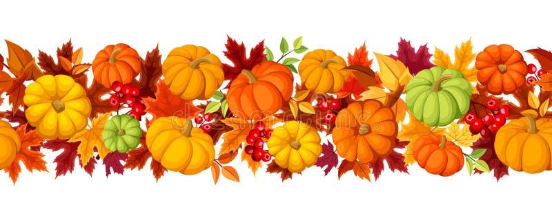 Οριζόντιο άνευ ραφής υπόβαθρο με τις ζωηρόχρωμα κολοκύθες και τα φύλλα φθινοπώρου επίσης corel σύρετε το διάνυσμα απεικόνισης ελεύθερη απεικόνιση δικαιώματος