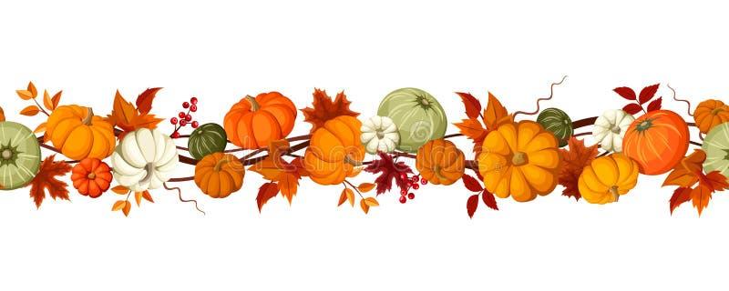Οριζόντιο άνευ ραφής υπόβαθρο με τις κολοκύθες και τα φύλλα φθινοπώρου επίσης corel σύρετε το διάνυσμα απεικόνισης ελεύθερη απεικόνιση δικαιώματος