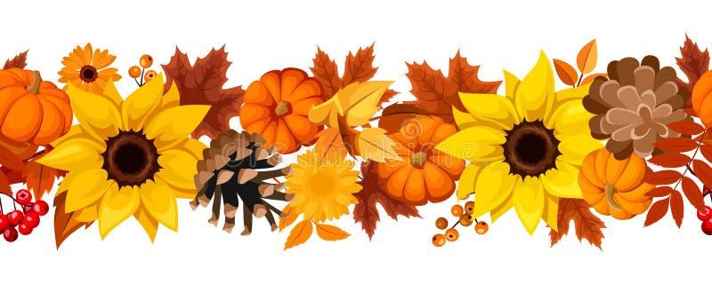 Οριζόντιο άνευ ραφής υπόβαθρο με τις κολοκύθες, τους ηλίανθους και τα φύλλα φθινοπώρου επίσης corel σύρετε το διάνυσμα απεικόνιση ελεύθερη απεικόνιση δικαιώματος