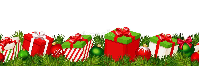 Οριζόντιο άνευ ραφής υπόβαθρο Χριστουγέννων με τα κόκκινα και πράσινα κιβώτια δώρων επίσης corel σύρετε το διάνυσμα απεικόνισης διανυσματική απεικόνιση