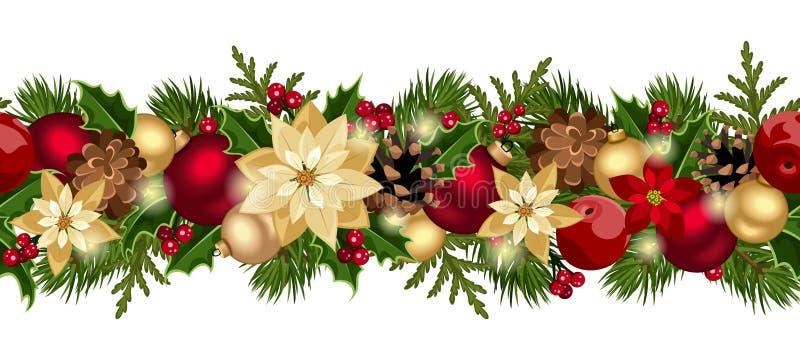 Οριζόντιο άνευ ραφής υπόβαθρο Χριστουγέννων. απεικόνιση αποθεμάτων