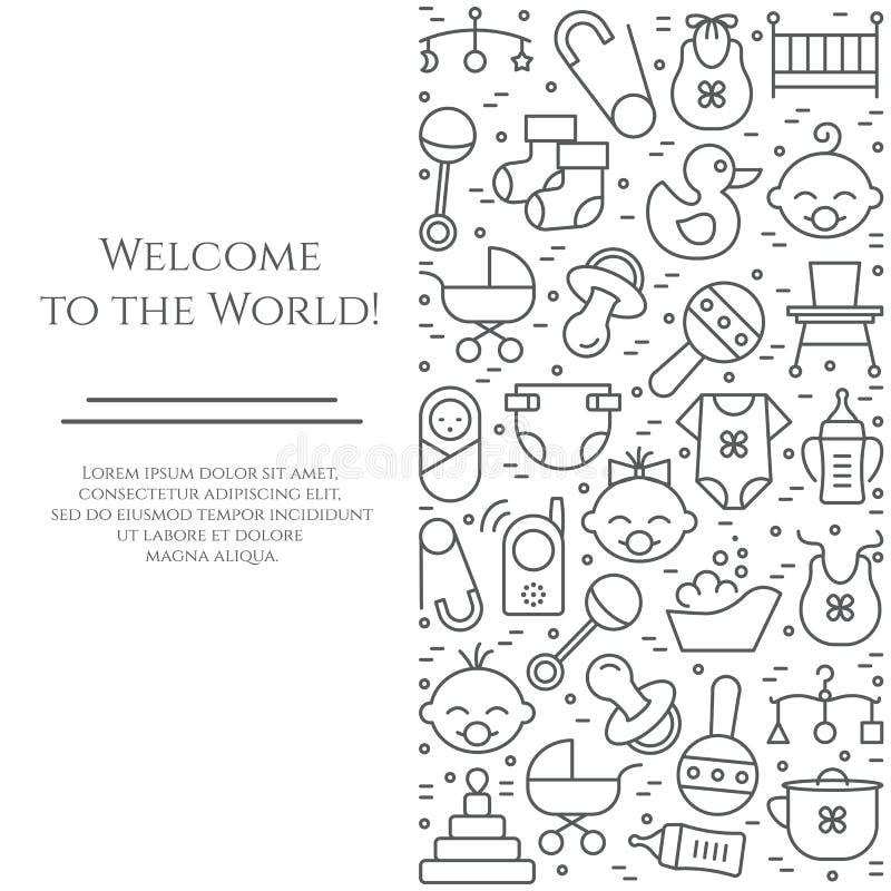 Οριζόντιο έμβλημα θέματος μωρών Εικονογράμματα του μωρού, του καροτσακιού, του παχνιού, κινητός, των παιχνιδιών, του κουδουνίσματ ελεύθερη απεικόνιση δικαιώματος