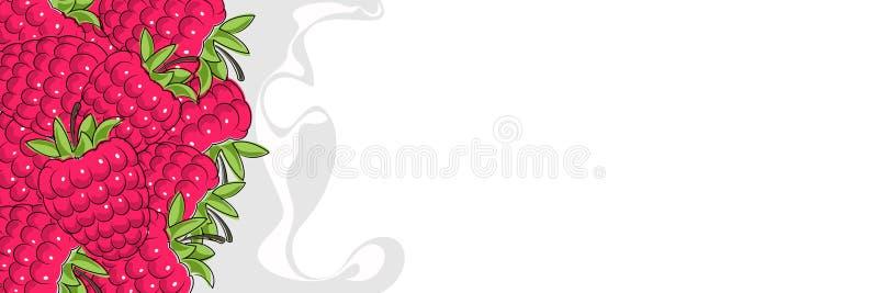 Οριζόντιο έμβλημα με τα σμέουρα διανυσματική απεικόνιση