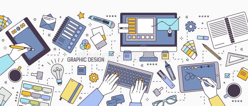 Οριζόντιο έμβλημα με τα χέρια του σχεδιαστή που λειτουργούν στον υπολογιστή ή που επισύρουν την προσοχή στην ταμπλέτα που περιβάλ απεικόνιση αποθεμάτων