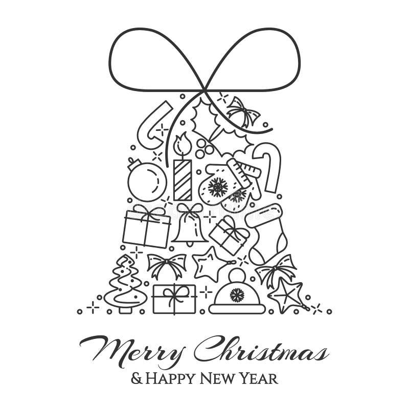 Οριζόντιο έμβλημα Χριστουγέννων με το δέντρο, δώρα, διακοσμήσεις με μορφή κουδουνιού Επίπεδη τέχνη γραμμών επίσης corel σύρετε το διανυσματική απεικόνιση