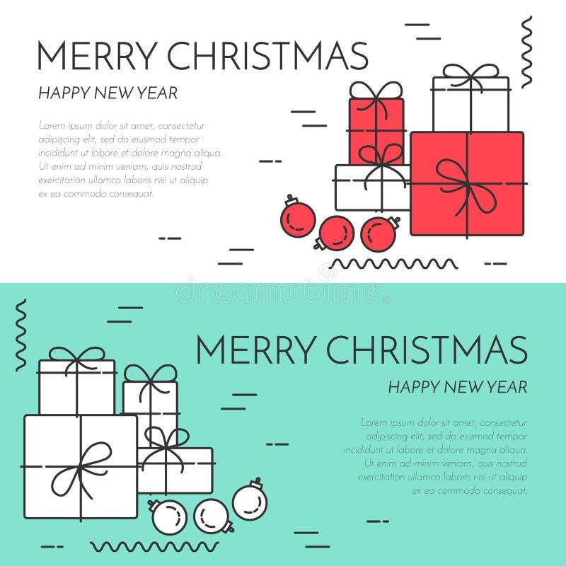 Οριζόντιο έμβλημα Χριστουγέννων με το δέντρο και το γραμμικό ύφος δώρων απεικόνιση αποθεμάτων