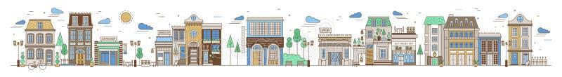 Οριζόντιο αστικό τοπίο με την πόλη ή την οδό ή τη γειτονιά κωμοπόλεων Εικονική παράσταση πόλης με τα κατοικημένα σπίτια, καταστήμ διανυσματική απεικόνιση
