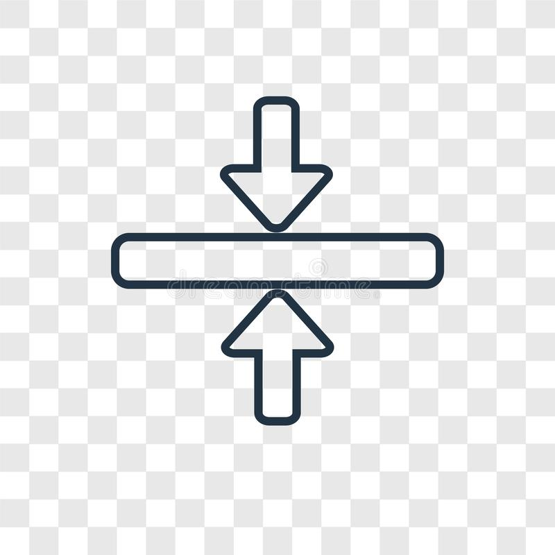 Οριζόντιο διανυσματικό γραμμικό εικονίδιο έννοιας συγχώνευσης που απομονώνεται σε transpar ελεύθερη απεικόνιση δικαιώματος