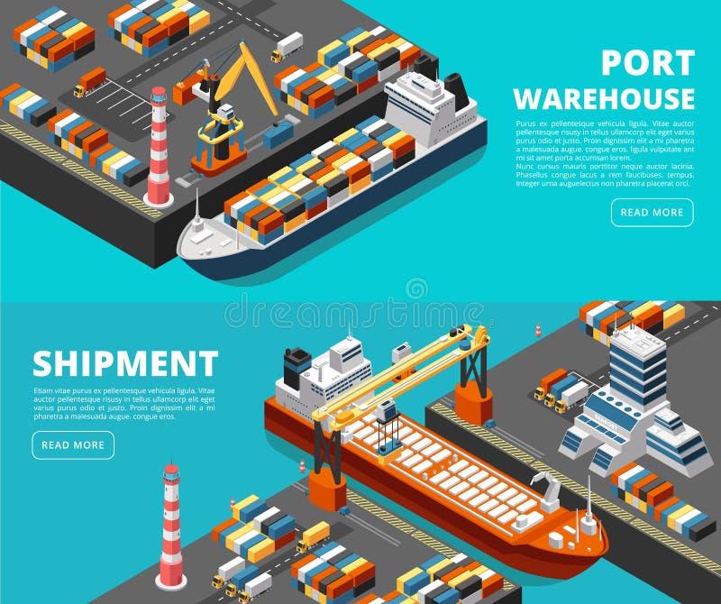 Οριζόντιο διανυσματικό φορτίο θάλασσας μεταφορών θάλασσας και στέλνοντας εμβλήματα με το isometric θαλάσσιο λιμένα, σκάφη, εμπορε ελεύθερη απεικόνιση δικαιώματος