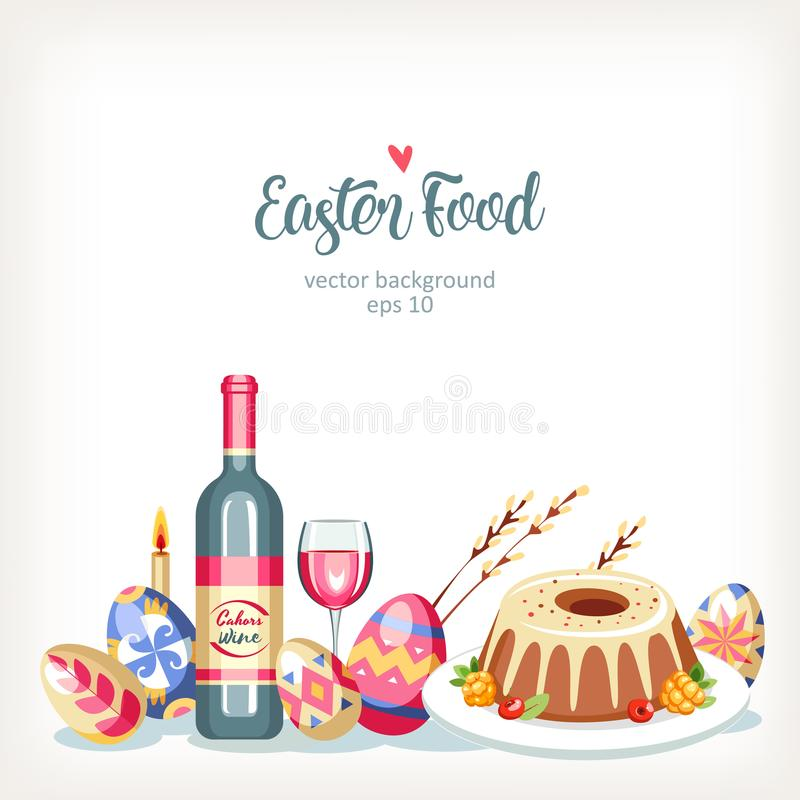Οριζόντιο εορταστικό υπόβαθρο τροφίμων Πάσχας με τα παραδοσιακά αυγά και τα κέικ Πάσχας ελεύθερη απεικόνιση δικαιώματος