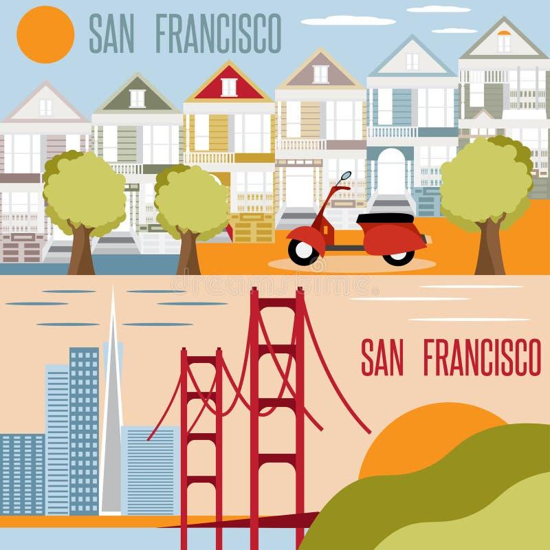 Οριζόντιο επίπεδο διάνυσμα σχεδίου ορόσημων του Σαν Φρανσίσκο ελεύθερη απεικόνιση δικαιώματος