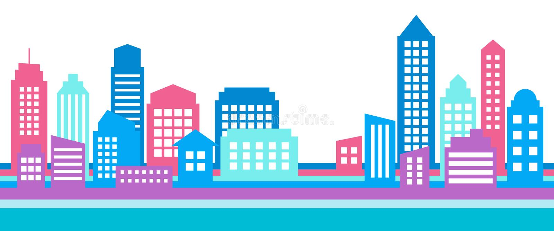 Οριζόντιο ζωηρόχρωμο έμβλημα εικονικής παράστασης πόλης, σύγχρονη αρχιτεκτονική απεικόνιση αποθεμάτων