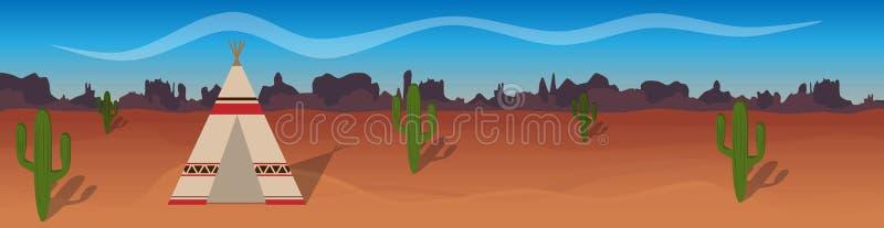Οριζόντιο διανυσματικό έμβλημα με την έρημο, σκηνή ερυθρόδερμων, κάκτος που σκιαγραφείται ελεύθερη απεικόνιση δικαιώματος